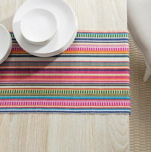 Bright Stripe Table Runner With Napkin Option