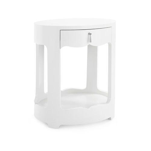 Brigitte One Drawer Side Table in White