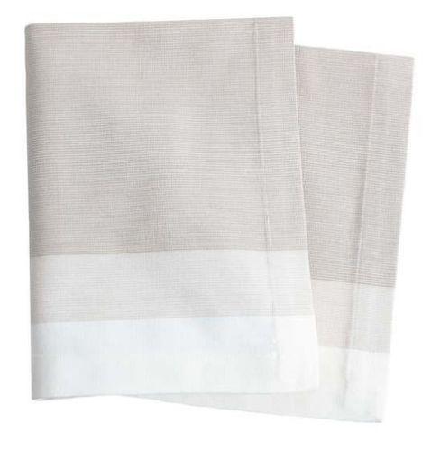 Cafe Stripe Table Runner - Platinum With Napkin Option