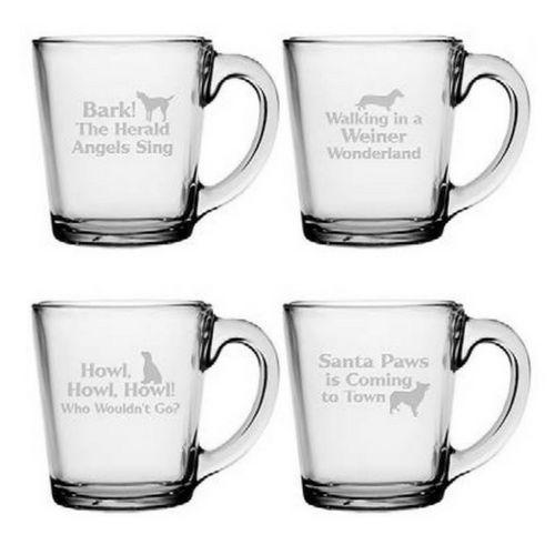 Canine Carols Glass Coffee Mugs - Set of 4