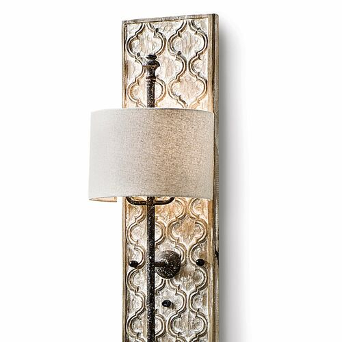 Carved Panel Distressed Painted Sconce
