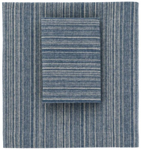 Cascade Stripe Flannel Blue/Oatmeal Sheet Set