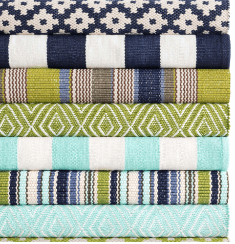 Catamaran Stripe Aqua/White  Indoor/Outdoor Rug