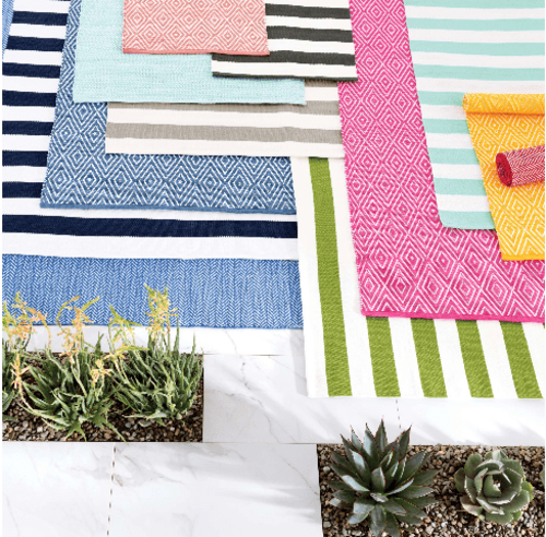 Catamaran Stripe Platinum/White Indoor/Outdoor Rug<font color=a8bb35> 20% off</font>