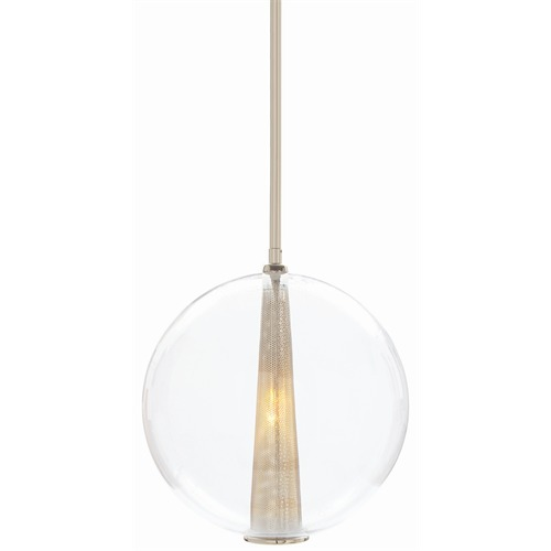 Caviar Large Polished Nickel Pendant Light