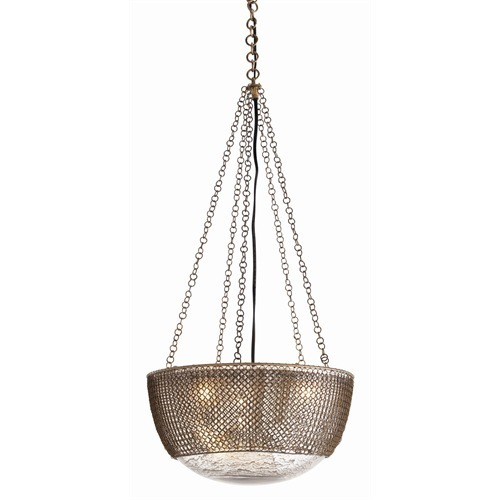 Chainmail 3L Brass/Glass Pendant Light