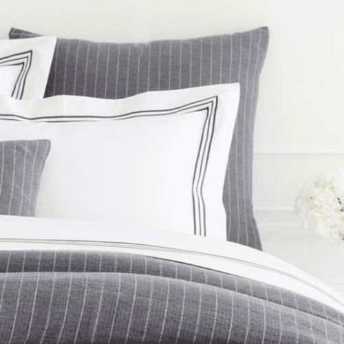 Chalk Stripe Grey Matelasse Duvet Cover