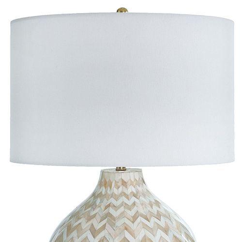 Chevron Gray Bone Table Lamp