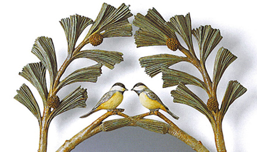 Chickadees in Pine Boughs Mirror