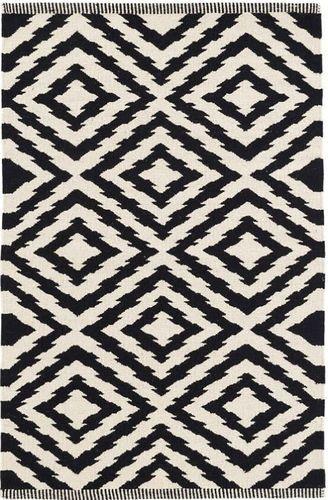 Clover Black Cotton Woven Rug