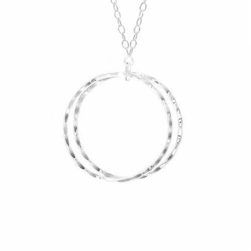 Compass Curve Silver Pendant Necklace <font color=a8bb35> Sold Out</font>