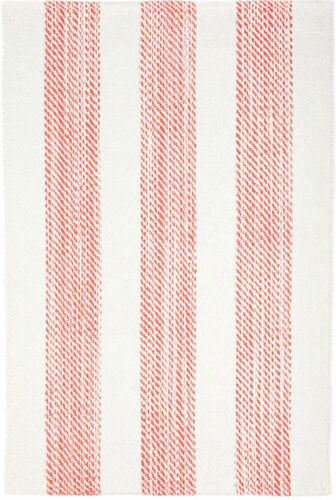 Cruise Stripe Coral Woven Cotton Rug<font color=a8bb35> NEW</font>