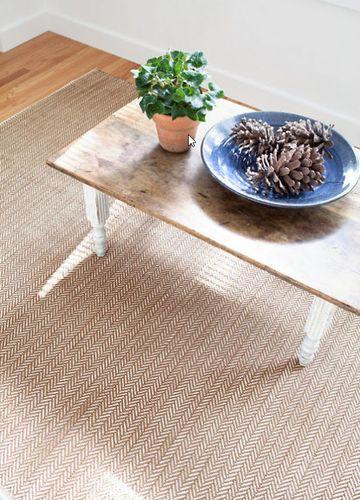 Herringbone Stone Cotton Woven Rug