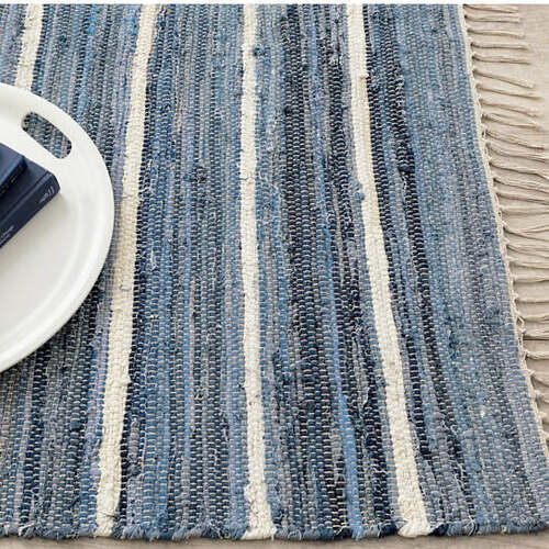 Denim Rag Stripe Woven Cotton Rug For Sale Cottage