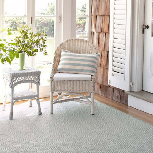 Diamond Light Blue and Ivory Indoor/Outdoor Rug