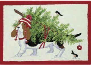Dog Carrying Christmas Tree Indoor Christmas Doormat