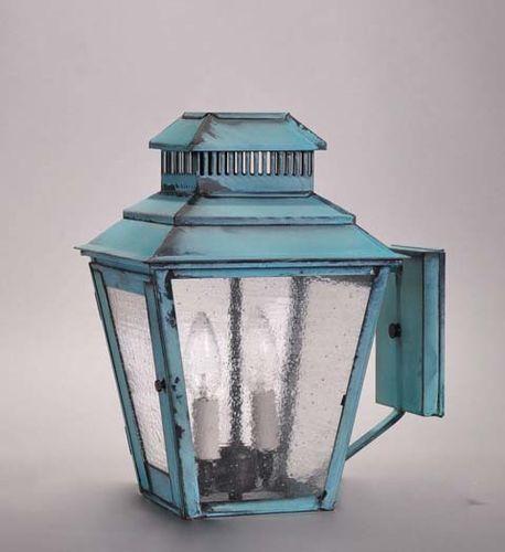 Elryan 2-Light Wall Mount Lantern with Seedy Marine Glass