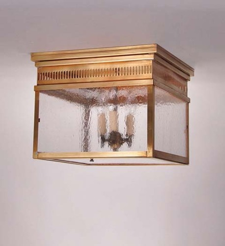 Elryan 3-Light Flush Mount Light Fixture with Seedy Marine Glass