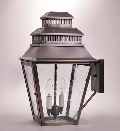 Elryan Wall Mount 2-Light Lantern with Clear Seedy Glass