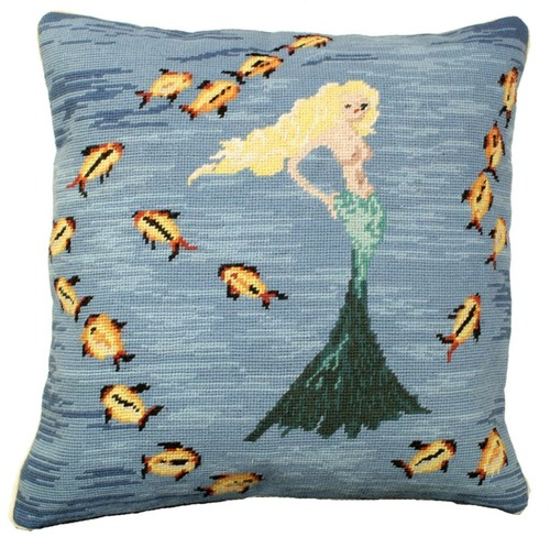 Mermaid Needlepoint Pillow #3