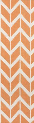 Fallon Orange Chevron Flat Pile Rug