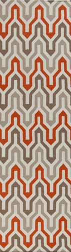 Fallon Orange, Taupe & Cream Flat Pile Rug