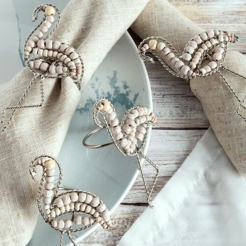 Flamingo Wood and Metal Napkin Rings Set of 10 *NEW