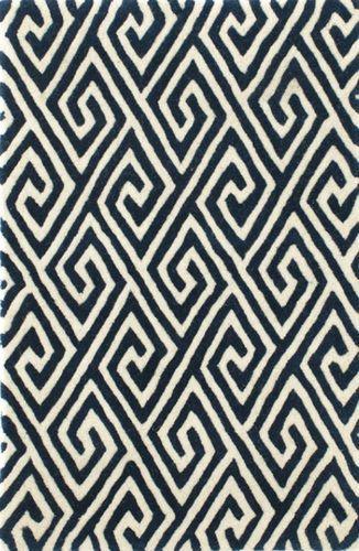 Fretwork Navy Wool Tufted Rug