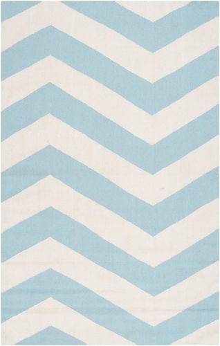Frontier Aqua/White Flat Pile Rug