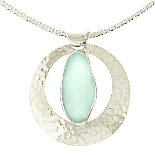 Full Moon Sea Glass Pendant Necklace