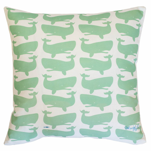 Fun Whales Green/White Pillow - Two Options