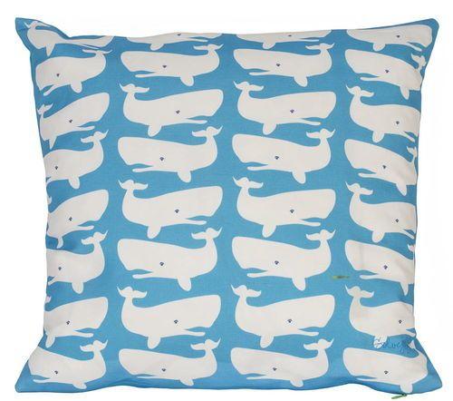 Fun Whales White on Turquoise Pillow