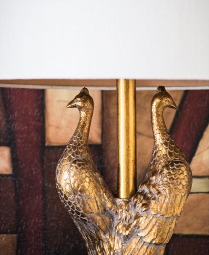 Golden Glamour Peacock Table Lamp