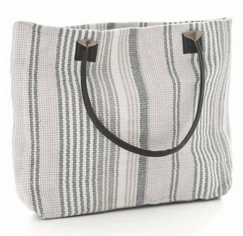 Gradation Ticking Woven Cotton Tote Bag 20% OFF