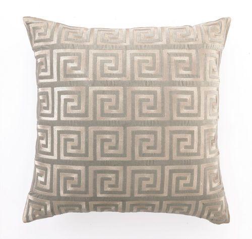 Greek Key Grey Embroidered Velvet Pillow <font color=cf2317> Sold Out</font>
