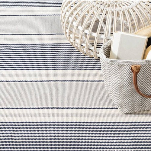 Gunner Stripe Woven Cotton Rug<font color=a8bb35> NEW</font>