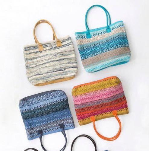 Gypsy Stripe Cotton Beach Tote - Denim/Ivory