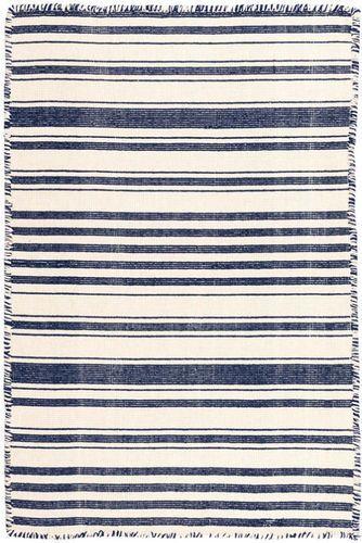 Hampshire Stripe Navy Woven Cotton Rug