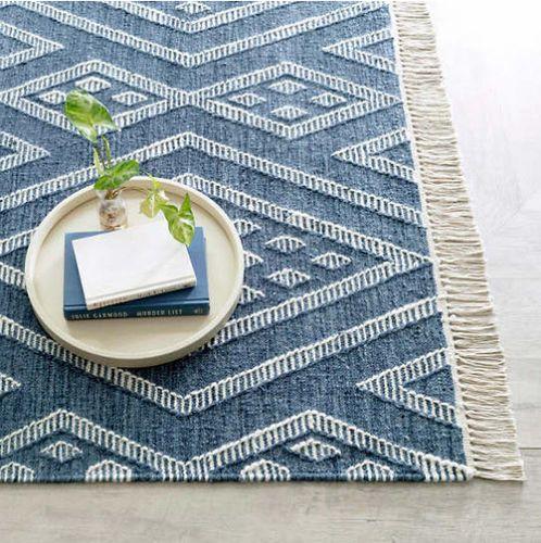 Healy Blue Woven Wool Rug
