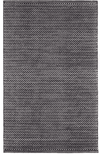Herringbone Black/Ivory Indoor/Outdoor Rug