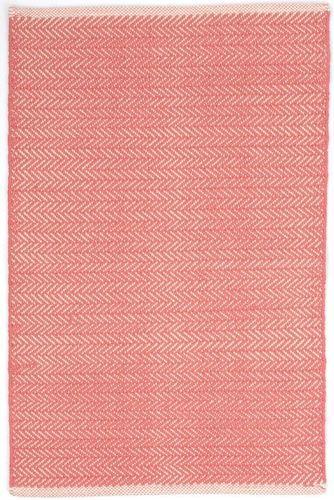 Herringbone Coral Cotton Rug