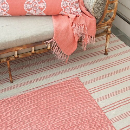 Herringbone Coral Cotton Rug<font color=a8bb35> 20% off</font>