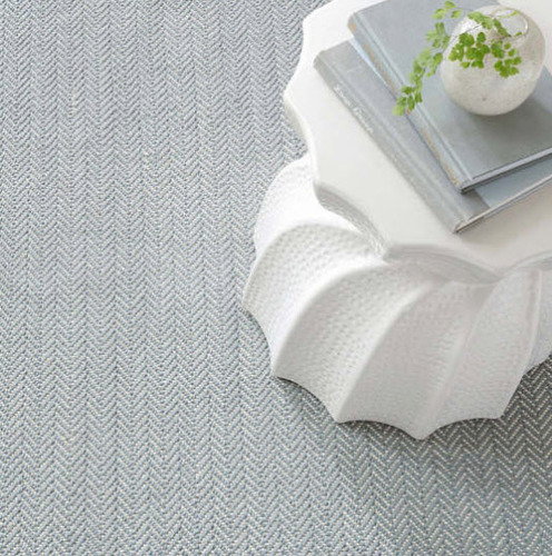 Herringbone Swedish Blue Cotton Woven Rug