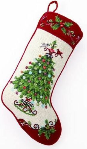 Holly Garden Tree Christmas Stocking<font color =a8bb35> Sold out</font>
