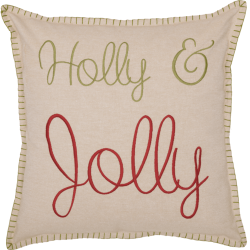 Holly Jolly Chambray Pillow