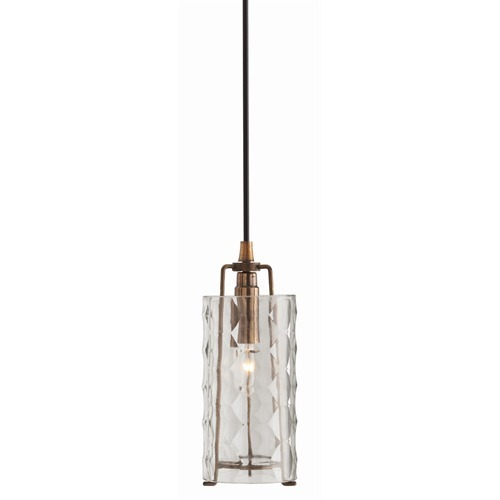 Ice Faceted Small Clear Glass/Iron Pendant Light