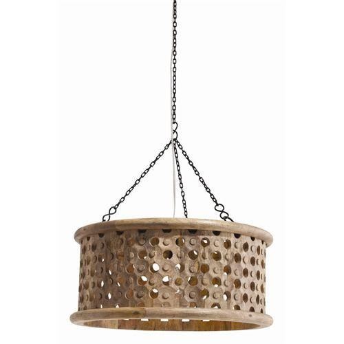 Jarrod Small Carved Wood/Mirror Pendant Light