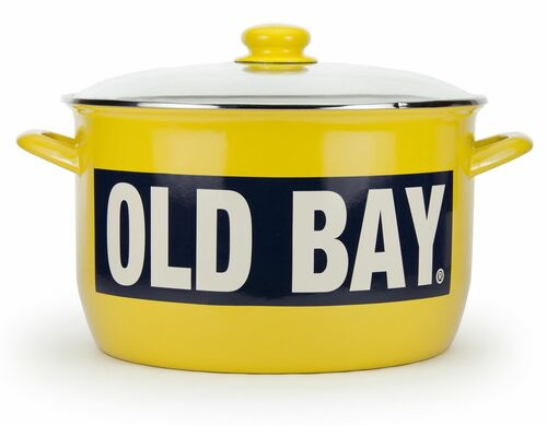 Large Old Bay 18 Quart Enamelware Stock Pot with Rack