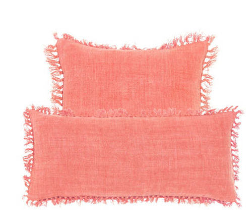 Laundered Linen Coral Decorative Pillow