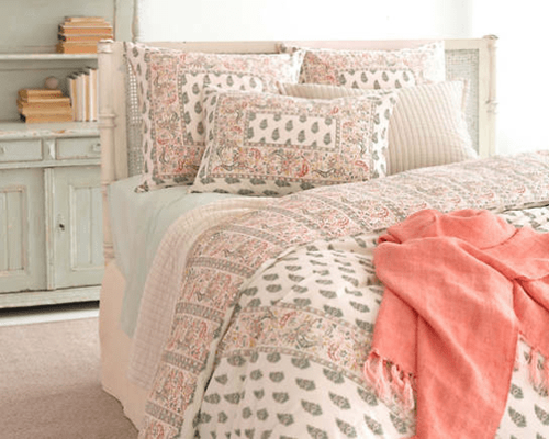 Laundered Linen Coral Throw